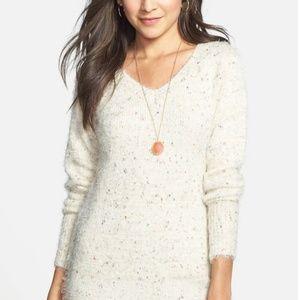 Lush Flecked V-Neck Tunic Sweater, Size Small